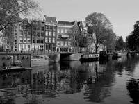 Waterway in Amsterdam- Black and White