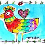 """TORTOLITOS (Lovebirds)  # 3"" by saracatenacolorfulart"