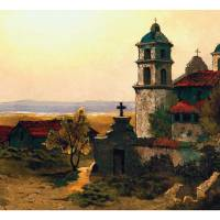 """Santa Barbara Mission Edwin Deakin"" by lookbackart"