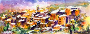 Snow in the South of France Watercolor by Ginette