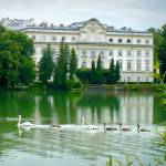 """Austrian Chateau with Lake and Swans"" by Groecar"