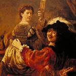 """The Painter and His Wife by Rembrandt"" by ArtLoversOnline"