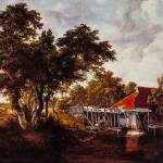"""The Watermill with Red Roof by Meindert Hobbema"" by ArtLoversOnline"