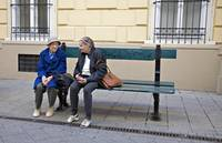 Old Friends On Park Bench - London, England