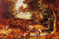 Wooded Landscape with Wagon Train by Jan Brueghel