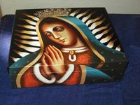Virgen of Guadalupe icon painted wood box