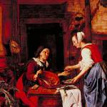 """Old Woman Selling Fish by Gabriel Metsu"" by ArtLoversOnline"