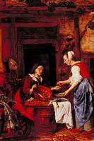 Old Woman Selling Fish by Gabriel Metsu