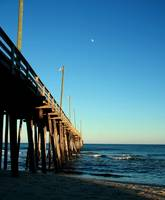 Afternoon Moon Over Rodanthe Pier 0449
