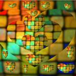 """Colored Glass Tiles Heart Mosaic"" by JudyMarisa"