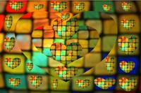Colored Glass Tiles Heart Mosaic