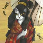 """Cat Art Gold Dragon Red Kimono"" by taraflyphotos"