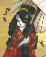 Cat Art Gold Dragon Red Kimono