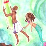 """The Surfer and the Mermaid"" by jennlandstedt"