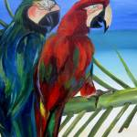"""Parrot on The Beach"" by artbypatti"