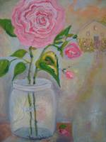 Pink Rose in Antique Jar