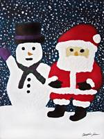 Santa with Snowman Painting