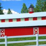 """Red Barn, White Fence, Blue Sky"" by budo"