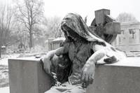Grief in bronze on a winters day