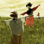 """Dancing Scarecrows - Happy scarecrows on a hill"" by vision"