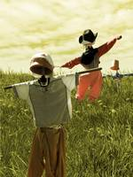 Dancing Scarecrows - Happy scarecrows on a hill