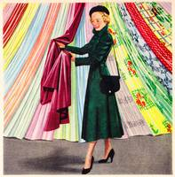 Choosing a Plastic Fabric; 1948 ad; artist unknown