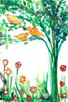 Three Orange Birds in a Tree, Watercolor Painting
