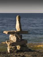 Inukshuk close to Georgian Bay , Canada