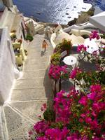Woman in Santorini's street