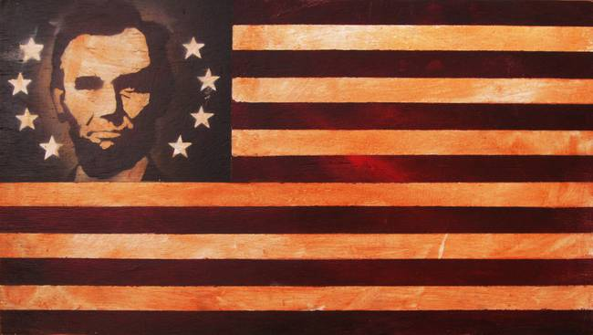 Abraham Lincoln Antique American Flag By Adam Varga
