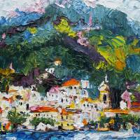 """AMALFI Italy Impressionist Oil Painting by Ginette"" by Ginette Callaway"