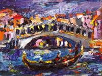 Venice Rialto Bridge Oil Painting by Ginette