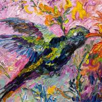 """Hummingbird Oil Painting by Ginette Callaway"" by GinetteCallaway"
