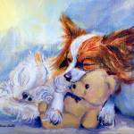 """Papillon Dog, Teddy Hugs"" by wally_doodle"