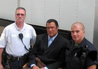 Steven Segal  at the set for Marker/ Pistol Whippe