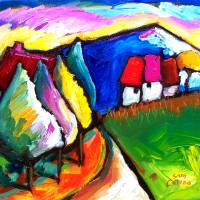 """HOUSES  IN  UMBRIA  ITALY"" by saracatenacolorfulart"
