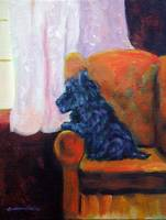 Scottish Terrier, Waiting for Mom