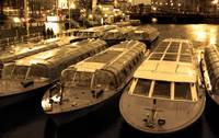 Idle Tour Boats -- Amsterdam in November  SEPIA