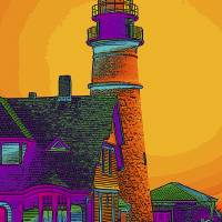 Portland Headlight Art Prints & Posters by Susan Elizabeth Dalton