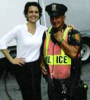 Carla Gugino at Righteous Kill movie set , Bridgep