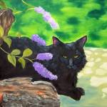 """Black Cat Under the Butterfly Bush"" by tagscats"
