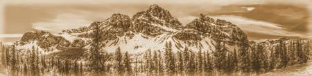 Crowfoot Mountain and Crowfoot Glacier Panorama