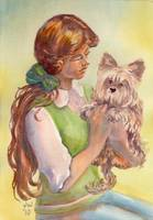 Girl with yorkie
