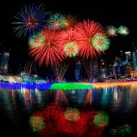 Singapore New Year Fireworks Art Prints & Posters by Souvik Bhattacharya