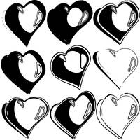black and white hearts