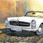 """Mercedes Benz W113 280 SL Pagoda Front"" by shevchukart"