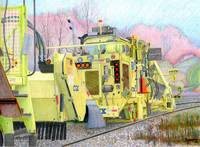 CSX track repair vehicle colored pencil