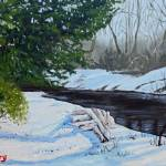 """Lizard Creek in winter (the little red tree)"" by fieldsendart"