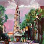 """Charleston Pink Sky from Oil Painting by Ginette"" by GinetteCallaway"