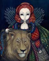 Queen Elizabeth and a Lion
